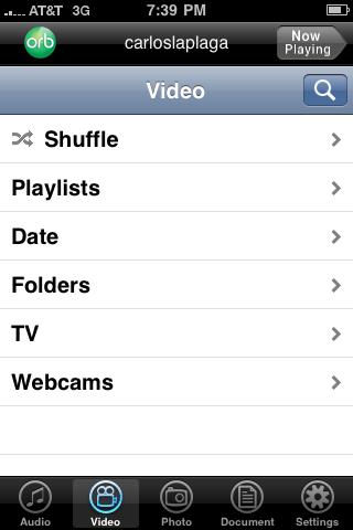 Pantalla principal de Orb en el iPhone