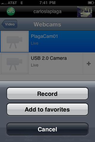 Opcion de grabar videos