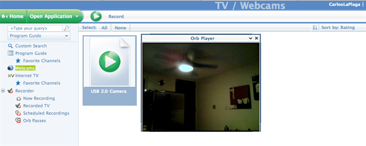 Video de la camara USB desde MyCast