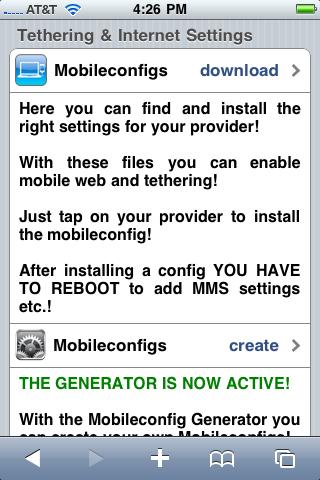 """Bajar hasta la sección donde dice """"Mobileconfigs"""" y seleccionar la opción de """"download"""""""