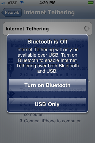 Si el Bluetooth esta apagado, el siguiente mensaje preguntará si quieres encender la conexión, de lo contrario seleciona USB Only