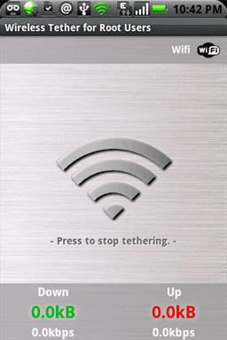 Pantalla Wifi Tether activada
