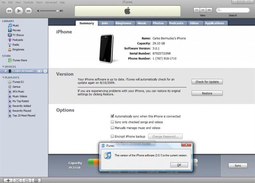Verificar si la versión del iPhone es la 3.0.1