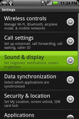 menu de configuracion