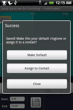 """Opciones para """"ringtone"""""""